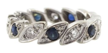 18ct white gold diamond and sapphire full eternity ring