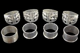 Set of four Edwardian silver napkin rings
