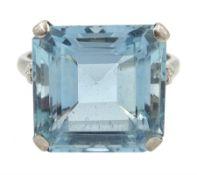 White gold and platinum square cut aquamarine ring