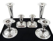 Pair of silver specimin vases by S Blanckensee & Son Ltd