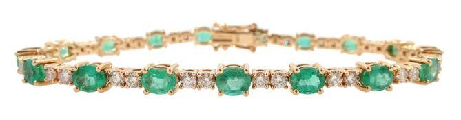 18ct rose gold oval emerald and round brilliant cut diamond bracelet