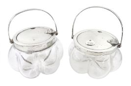 Two silver mounted glass jars