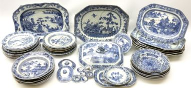 A large collection of late 18th/early 19th century Chinese blue and white porcelain