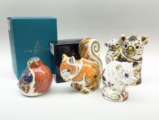Four Royal Crown Derby paperweights