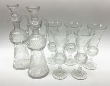 Pair of late 19th/early 20th century cut glass thistle shaped decanters and stoppers