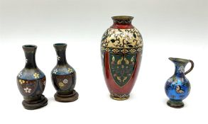 Pair of Chinese cloisonne vases on wooden stands H10cm