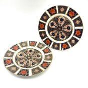 A pair of Royal Crown Derby Imari 1128 pattern plates