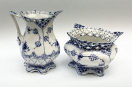 Two pieces of Royal Copenhagen Lace and Devil pattern porcelain