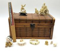 Bamboo box containing Japanese celluloid rickshaw group
