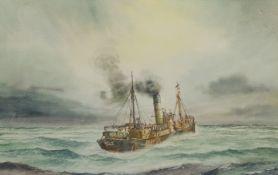 David C Bell (British 1950-): Grimsby Trawler 'Octaves' at Sea