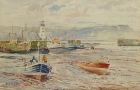 Edward H Simpson (British 1901-1989): 'The Inner Harbour Low Water' Scarborough