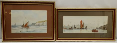 Ken Wigg (British 20th century): 'A Peaceful Morning' Scarborough Harbour and Whitby Coble off the S