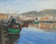 Neil Tyler (British 1945-): 'East Coast Trawler' in Scarborough Harbour