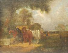 Style of William Joseph Shayer (British 1811-1892): Loading the Hay Cart