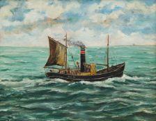 M Corrie (British 20th century): Steam Ship's Portrait