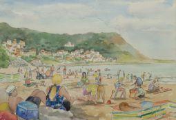 Penny Wicks (British 1949-): 'Summer at Runswick Bay'