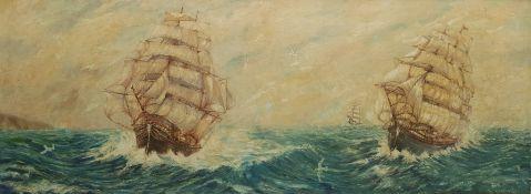 F Hutchinson (British 20th century): Three Sailing Ships