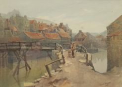 Russell Prichard (British 19th/20th century): Mother and Child Crossing Staithes Bridge