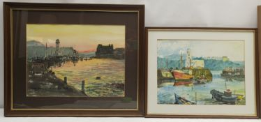 Dave Smart (British 20th century): 'Sunset Harbour' and 'November Harbour' Scarborough