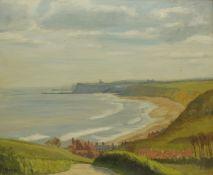 J Burton (British 20th century): Whitby from Lythe Bank