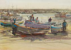 Attrib. David Morris (British 1937-2018): Mending the Boats in the Harbour at Low Tide