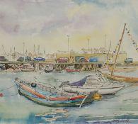 Penny Wicks (British 1949-): Bridlington Harbour