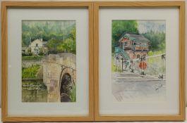 Penny Wicks (British 1949-): 'Across the Bridge Westow' and 'Kirkham Abbey Level Crossing'