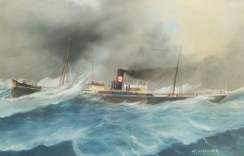 English School (Early 20th century): 'SS Northville' - Ship's Portrait