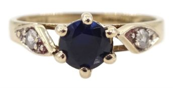 9ct gold sapphire and cubic zirconia ring