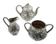 Victorian silver three piece silver tea service