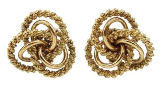 Pair of 9ct gold textured open work knot design earrings