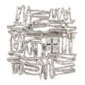 9ct white gold abstract open work brooch