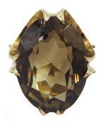 9ct gold large oval smoky quartz ring