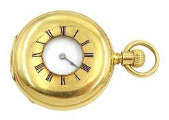 18ct gold half hunter keyless lever fob watch