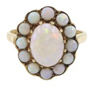 9ct gold oval and round opal cluster ring