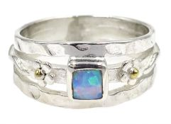 Silver square opal dress ring