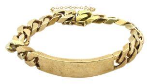 9ct gold flattened curb chain identity bracelet
