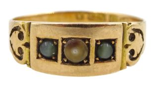 Victorian 15ct gold three stone cats eye chrysoberyl and split pearl gypsy set ring