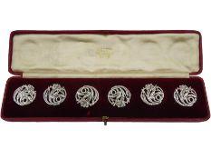 Set of six Art Nouveau silver buttons by Reynolds & Westwood
