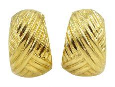 Pair of 18ct gold half hoop stud earrings