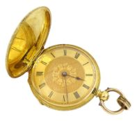 18ct gold full hunter key wound cylinder ladies pocket watch