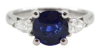 18ct white gold three stone round sapphire and pear shaped diamond ring
