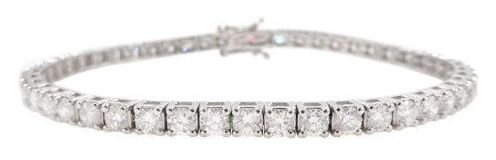 White gold round brilliant cut diamond line bracelet