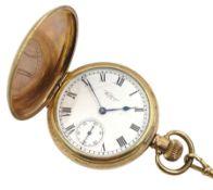 Gold-plated full hunter keyless Traveller pocket watch by Waltham U.S.A