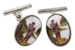 Pair of silver enamelled fly fishing cufflinks