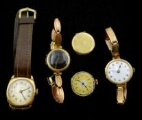Three early 20th century 9ct gold manual wristwatches