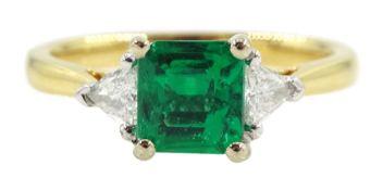 18ct gold three stone fine square cut emerald and trillion cut diamond ring