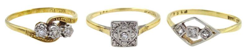 Three early 20th century diamond stone set rings