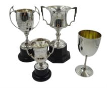 Two silver presentation trophy cups by Joseph Gloster Ltd