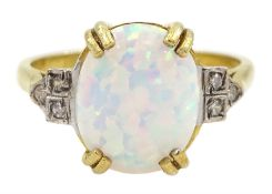 Silver-gilt opal and cubic zirconia ring